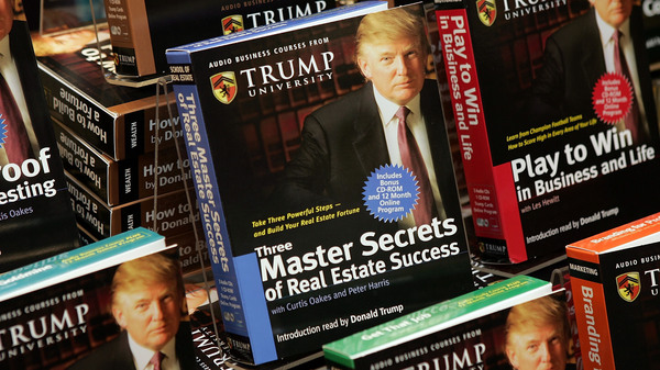 Copies of How To Build Wealth, a series of nine audio business courses created by Trump University, were on display at a Barnes & Noble store in New York City in 2005.