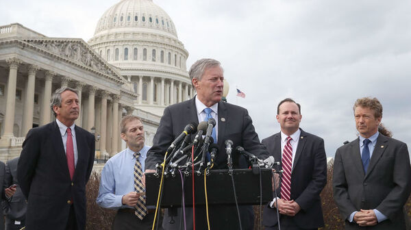 Freedom Caucus chairman Rep. Mark Meadows, R-N.C., talks about health care earlier this month and conservatives