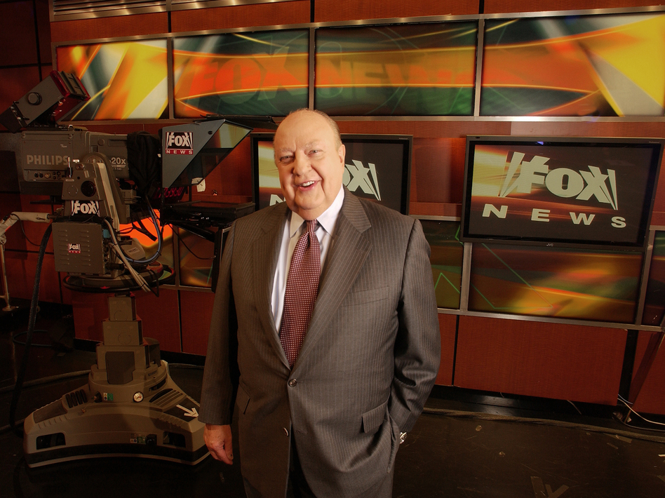 Then-Fox News CEO Roger Ailes poses at the network's New York City studios in 2006. Ailes served as CEO from Fox News' first day in 1996 until his resignation in July. (Jim Cooper/AP)