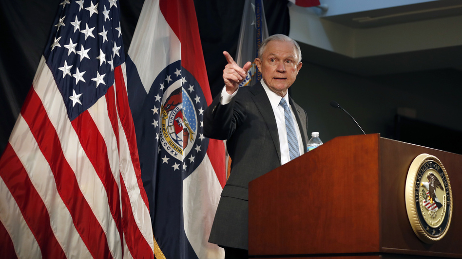 Attorney General Jeff Sessions has ordered a review of all Justice Department agreements with cities about police conduct. He is pictured speaking about crime to local, state and federal law enforcement officials last week in St. Louis. (Jeff Roberson/AP)