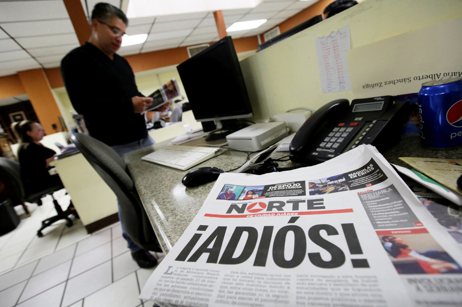 <em></em>The newspaper <em>Norte</em> announced its closure in bold letters, with a front-page letter from its owner explaining that the violence against journalists in Juarez and elsewhere in Mexico made the paper's continued existence untenable. (Jose Luis Gonzalez/Reuters)