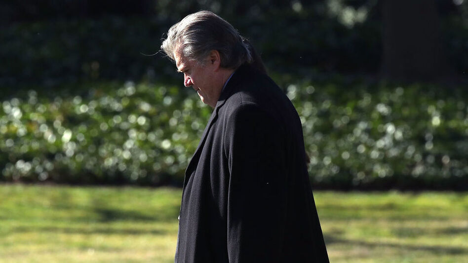 White House chief strategist Steve Bannon walks toward Marine One before departing from the White House in February. (Mark Wilson/Getty Images)