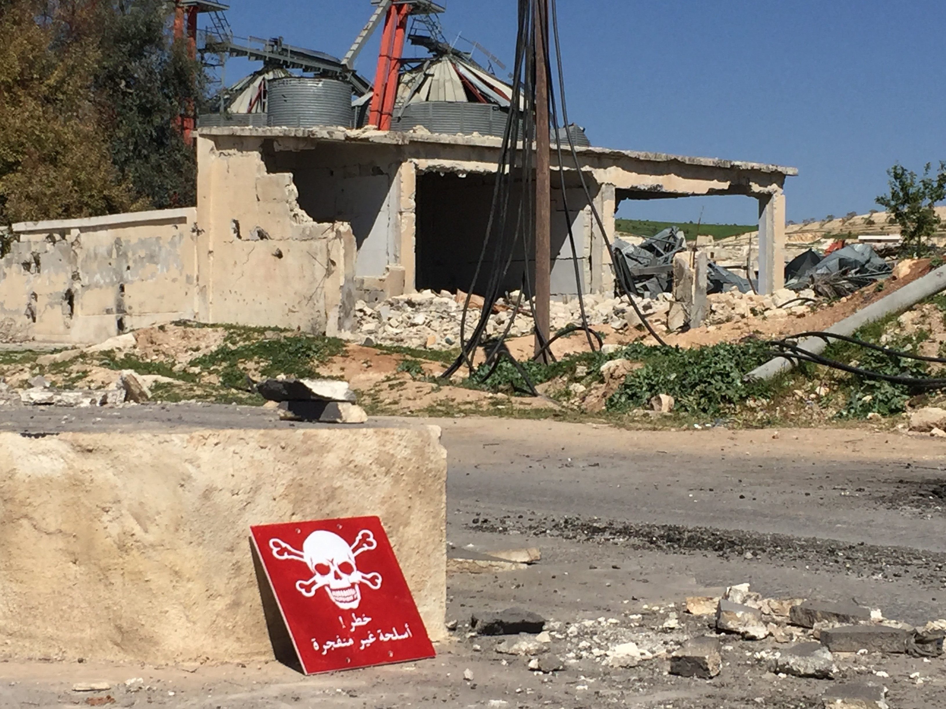 A poison hazard danger sign is seen in the town of Khan Shaykun, Idlib, Syria. At least 70 civilians, including 20 children, were killed in a suspected chemical attack in the town.     (Ogun Duru/Anadolu Agency/Getty Images)