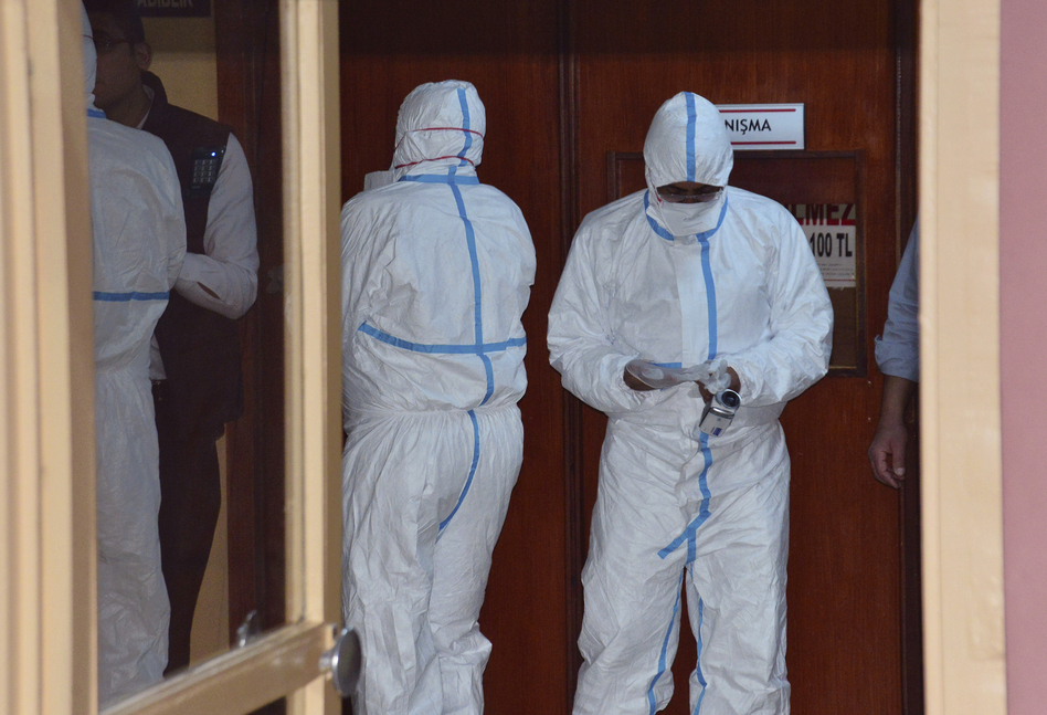 Experts in Turkey did autopsies on Wednesday on Syrians killed Tuesday in Idlib. Turkish Justice Minister Bekir Bozdag said results show they were subjected to chemical weapons in the attack by Syrian government forces. (DHA-Depo Photos via AP)