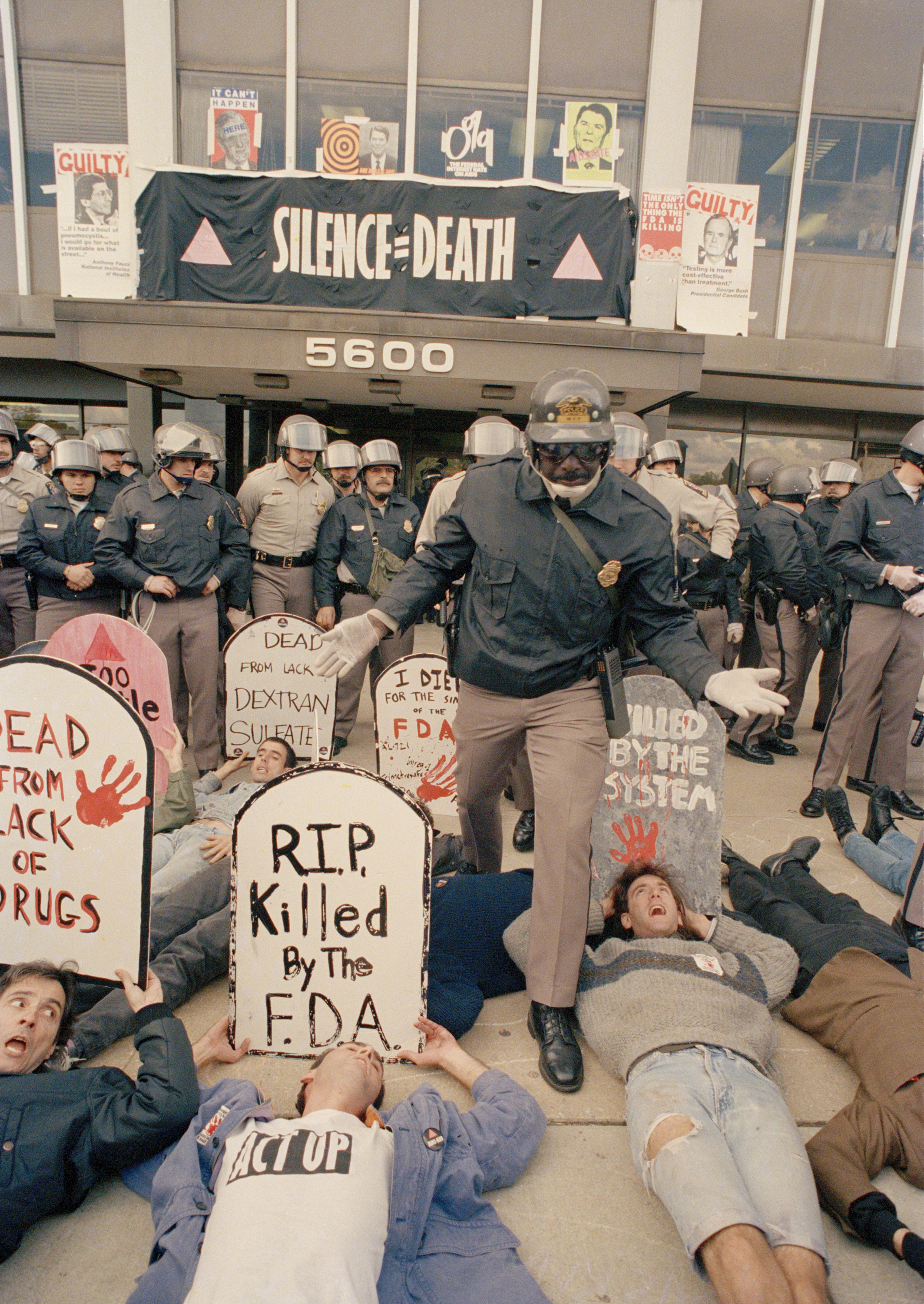 ACT UP demonstrators who were angry at the federal government's response to the AIDS crisis effectively shut down the headquarters of the Food and Drug Administration in Rockville, Md., on Oct. 11, 1988.     (J. Scott Applewhite/AP)