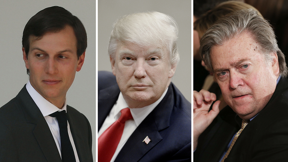 Jared Kushner (from left), President Trump's son-in-law; President Trump; and White House chief strategist Steve Bannon. Bannon's influence with Trump appears to be on the decline with Kushner on the rise. (Mark Wilson; Pool; Mario Tama/Getty Images)