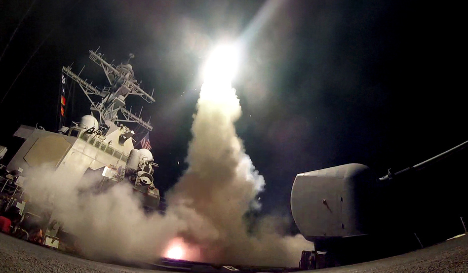 A still from a video released by the U.S. Navy on Thursday evening shows the guided-missile destroyer USS Porter (DDG 78) as it conducts strike operations while in the Mediterranean Sea. (U.S. Navy photo by Mass Communication Specialist 3rd Class Ford Williams)