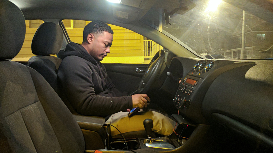 Victor Pizarro runs a taxi company in Plattsburgh, N.Y., about 20 miles from the Canadian border. Since January, several people have asked to be driven to a road near the border. (Ashley Cleek for NPR)