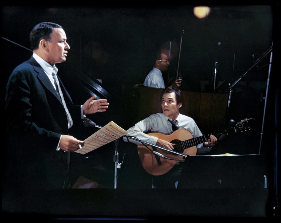 Frank Sinatra and Antonio Carlos Jobim in the studio.