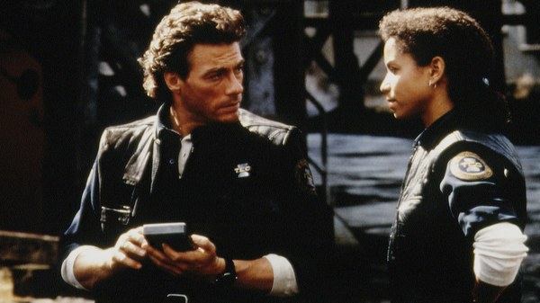A scene from the 1990s Sci-Fi film Timecop, featuring Jean-Claude Van Damme (left).