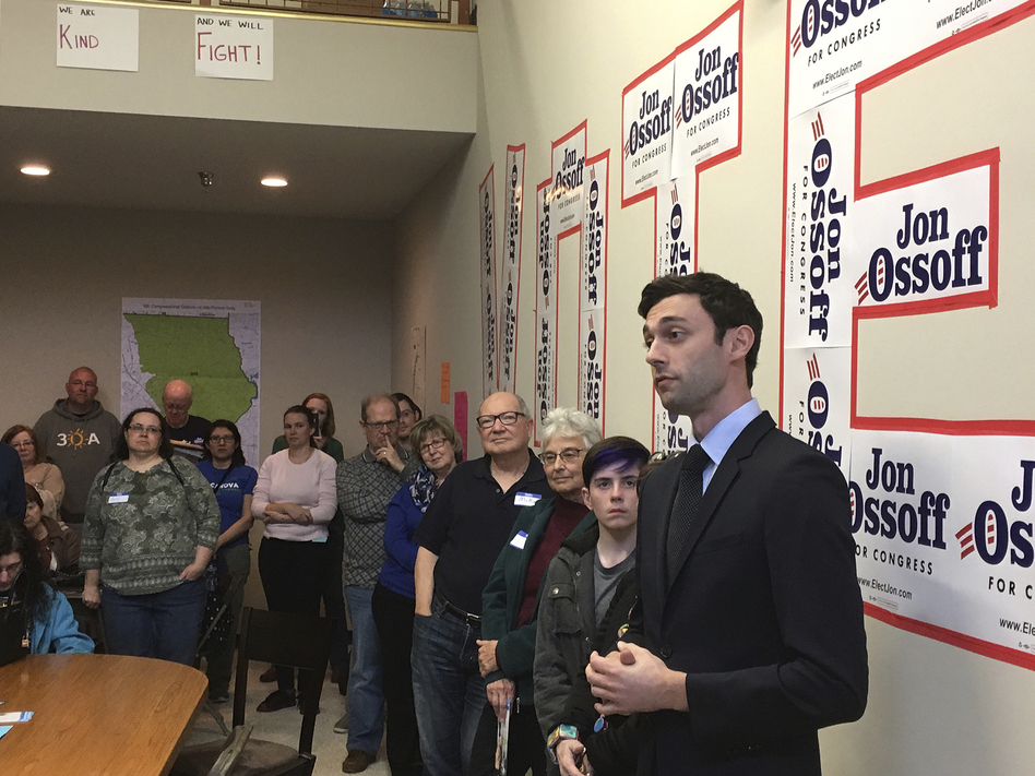 Georgia Democratic congressional candidate Jon Ossoff speaks to volunteers in his Cobb County campaign office last month. (Bill Barrow/AP)