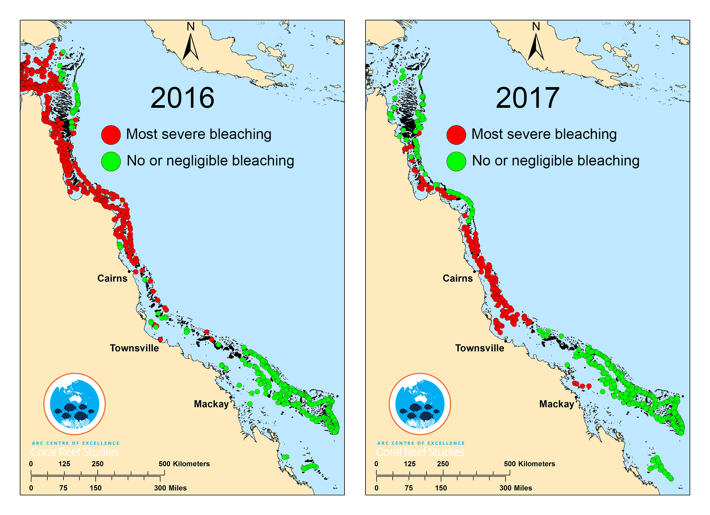 This composite map shows surveyed coral reefs in 2016 (left) and 2017.     (ARC Centre of Excellence for Coral Reef Studies)