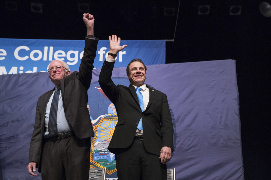 New York Gov. Andrew Cuomo (right) and Vermont Sen. Bernie Sanders at an event at LaGuardia Community College in New York in January. (Mary Altaffer/AP)