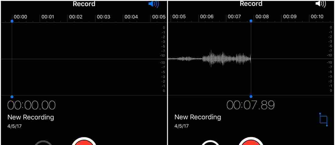 Apple Voice Memos screen with levels
