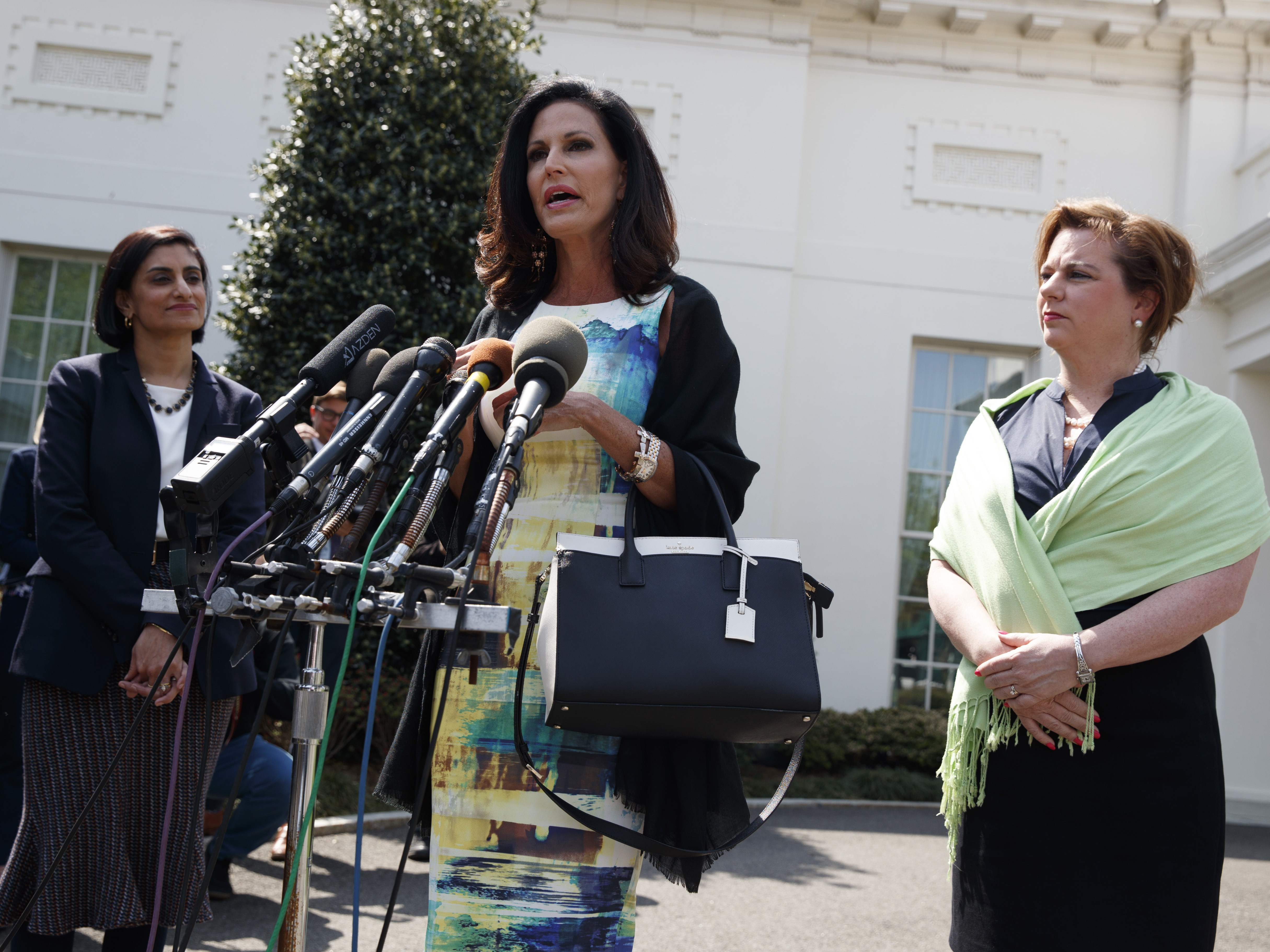 Marjorie Dannenfelser, president of the Susan B. Anthony List (right) and Seema Verma (left), administrator of the Centers for Medicare and Medicaid Services, look on as Concerned Women for America CEO Penny Nance speaks with reporters outside the White House on Thursday. (Evan Vucci/AP)