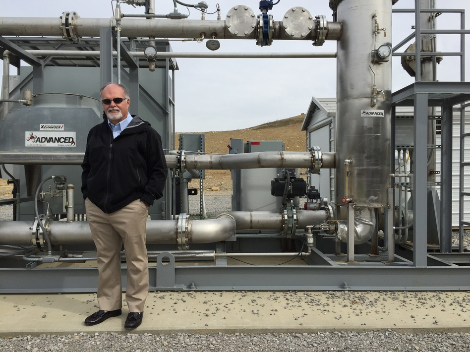 Kevin Butt, Toyota's regional environmental sustainability director, at a facility that uses methane to generate clean electricity to help run Toyota's auto plant in central Kentucky. (Jennifer Ludden/NPR)