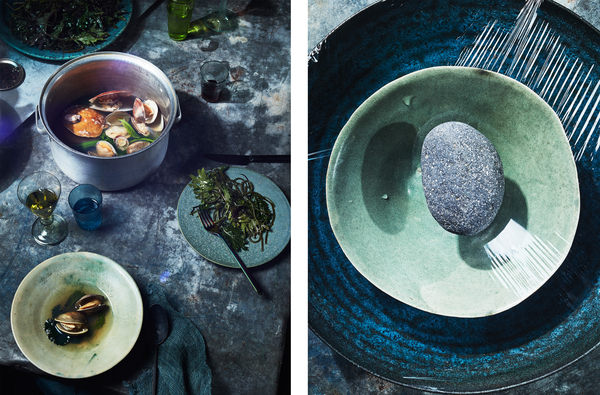 Left: Mollusks in broth with mustard greens. Mustard greens are hardy plants that could withstand climate fluctuations. Right: A DIY method for desalinating ocean water for cooking and drinking.