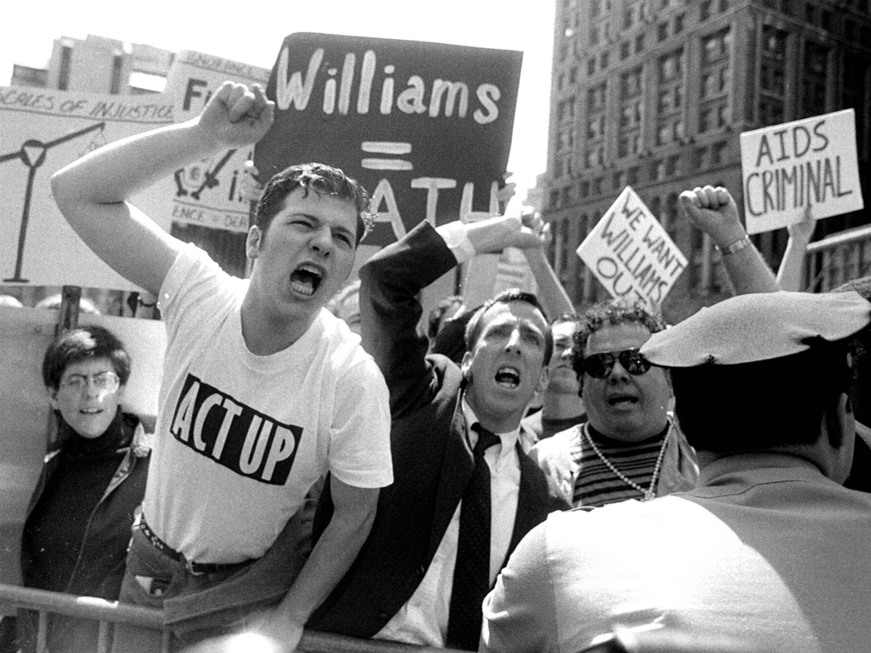 ACT UP protesters in front of City Hall in New York in 1992.     (New York Daily News Archive/NY Daily News via Getty Images)