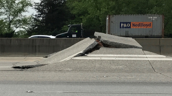 I-20 West was closed Monday morning after a portion of the highway buckled.