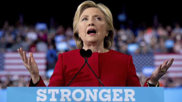 Democratic presidential candidate Hillary Clinton speaks during a campaign rally in Raleigh, N.C., Tuesday, Nov. 8, 2016. (AP Photo/Gerry Broome)