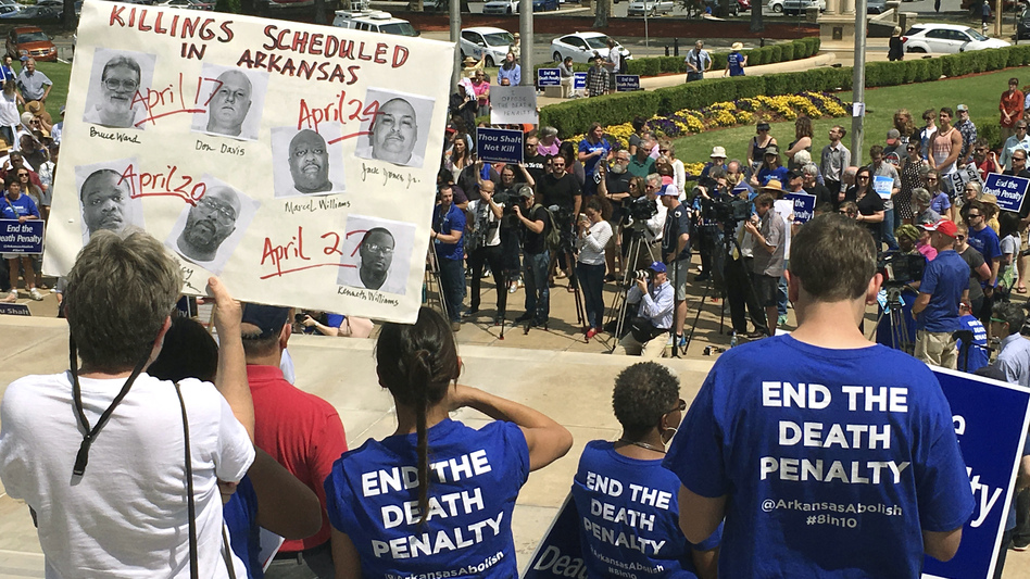 Protesters gather outside the state Capitol building in Little Rock, Ark., on Friday to voice their opposition to the executions that were scheduled for the next two weeks. On Friday and Saturday, two judges blocked the executions from moving forward; the state is appealing.