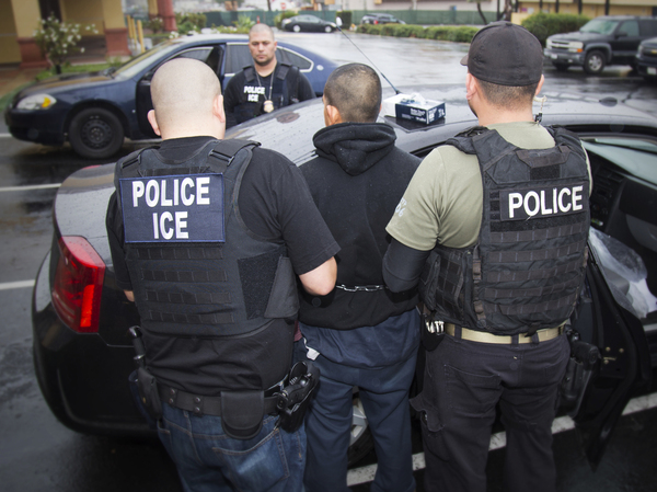 ICE agents conduct an enforcement operation in Los Angeles in February.