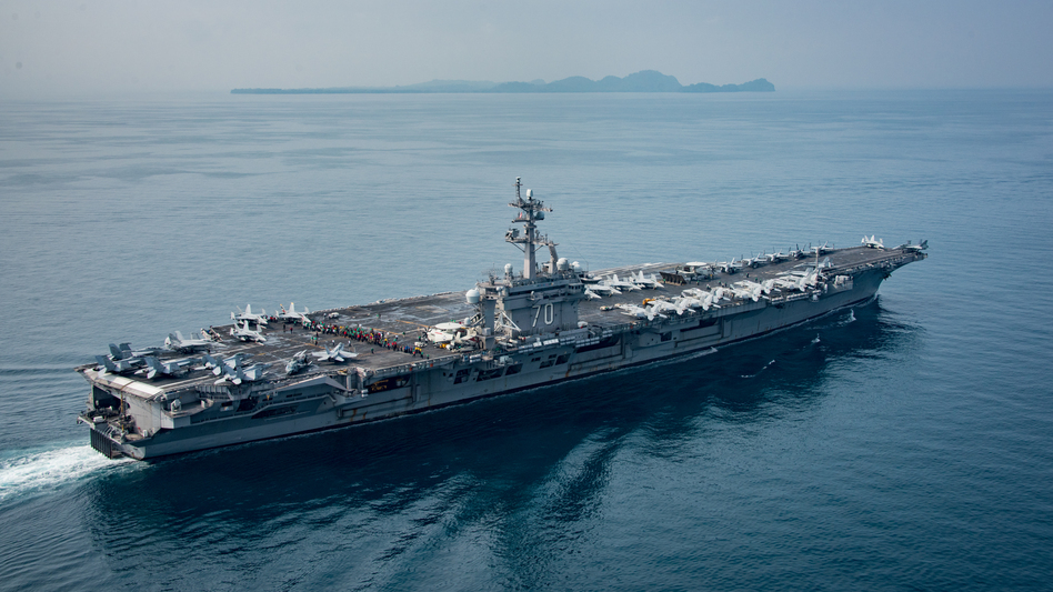 An official photograph dated April 15 and posted by the Navy shows the aircraft carrier USS Carl Vinson in an Indonesian strait thousands of miles south of North Korea. (MC2 Sean M. Castellano/U.S. Navy)