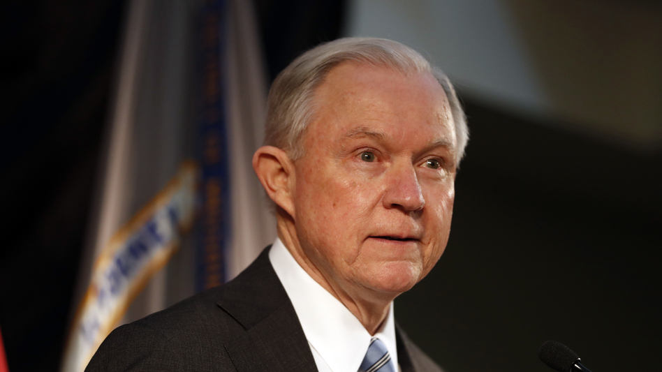 Attorney General Jeff Sessions speaks about crime to local, state and federal law enforcement officials in St. Louis on March 31.
