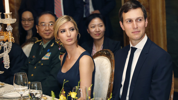 Ivanka Trump sits with her husband, Jared Kushner, at the April 6 dinner for Chinese President Xi Jinping at President Trump
