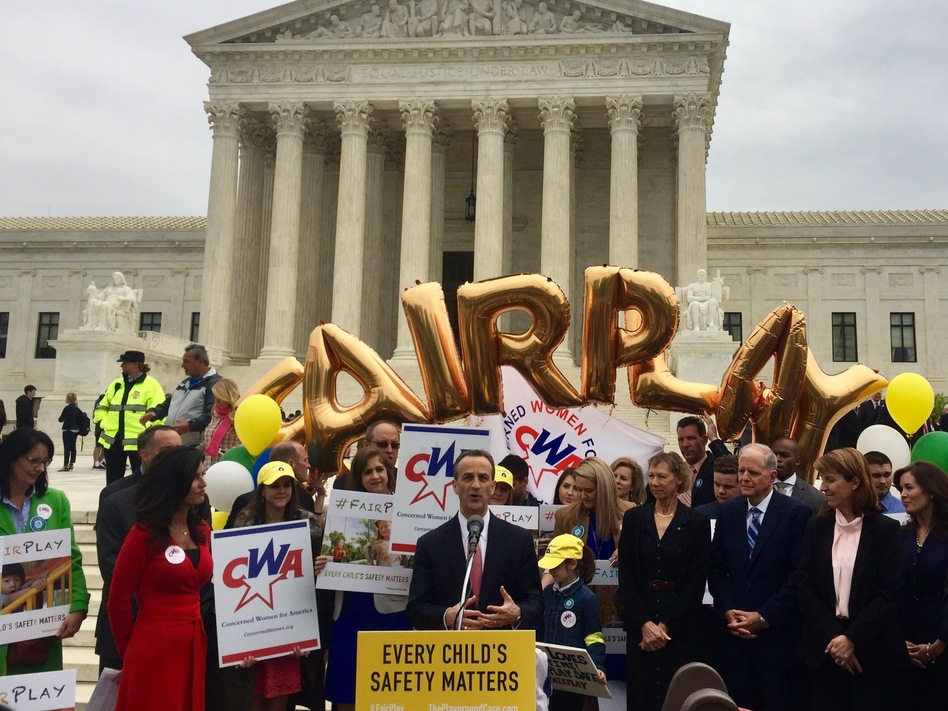 David Cortman of the Alliance Defending Freedom speaks after representing Trinity Lutheran Church before the Supreme Court on Wednesday. Concerned Women for America hosted a rally in support of the Missouri church on the court steps. (Lauren Russell/NPR)