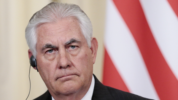 U.S. Secretary of State Rex Tillerson, pictured in Moscow last week, says Iran has been abiding by a 2015 nuclear agreement. But he told Congress in a letter that the Trump administration was reviewing the lifting of U.S. sanctions against Iran to determine if that was in U.S. interests.