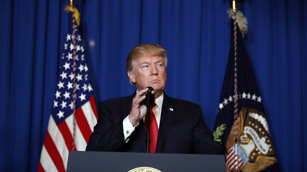 President Trump speaks at Mar-a-Lago in Palm Beach, Fla. The president is a homebody who hates interpersonal conflict, says journalist Maggie Haberman.