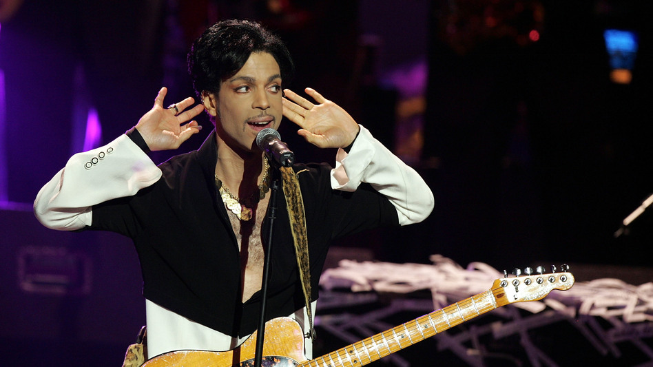 Prince performs onstage in March 2005.