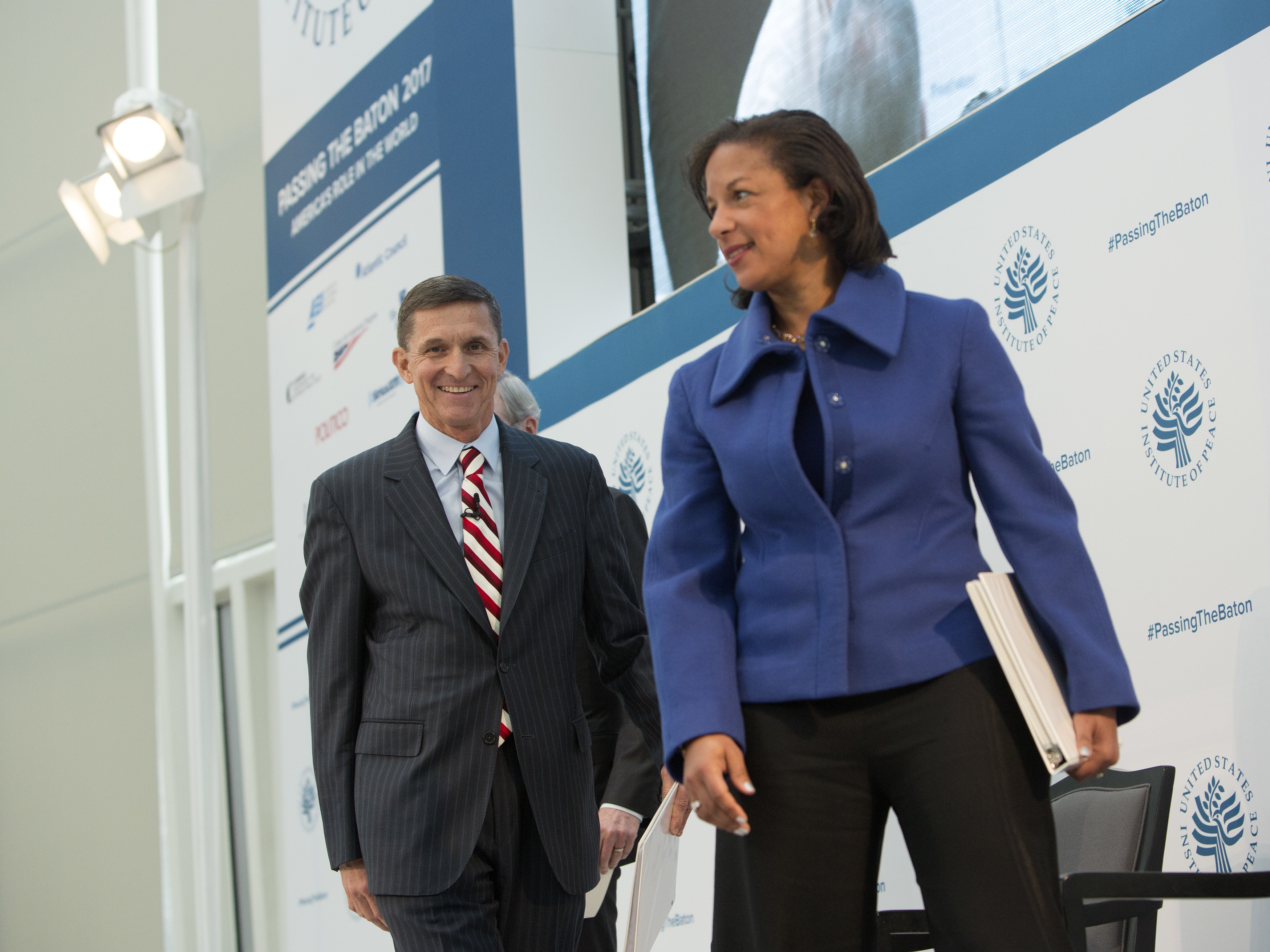 Then-national security adviser-designate Michael Flynn and Ambassador Susan Rice participate in a conference on the transition of the presidency from Barack Obama to Donald Trump at the U.S. Institute of Peace in Washington D.C., on Jan. 10.     (Chris Kleponis/AFP/Getty Images)