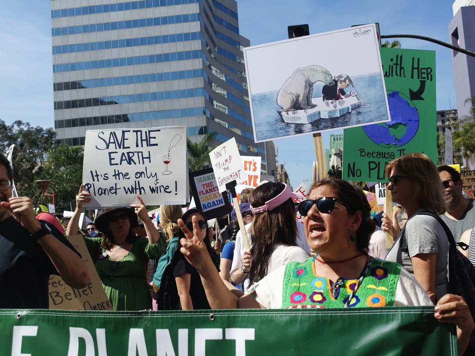Yolanda Gonzalez, a sixth-grade teacher of Pomona, Calif., demonstrates as part of the March for Science in downtown Los Angeles on Saturday. (Amanda Lee Myers/AP)