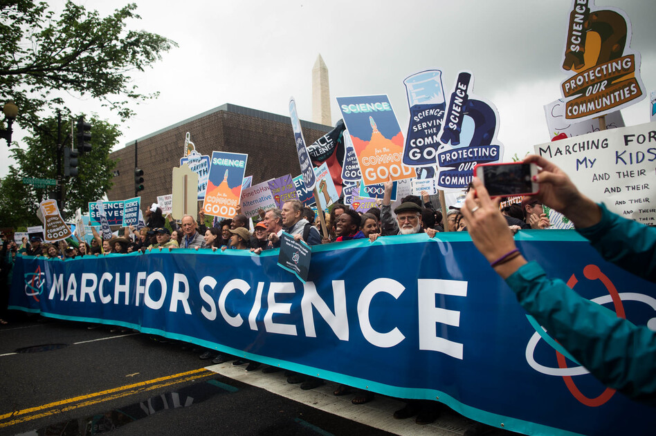 Participants in the March for Science walk along Constitution Avenue in Washington, D.C., on Saturday. (Meredith Rizzo/NPR)