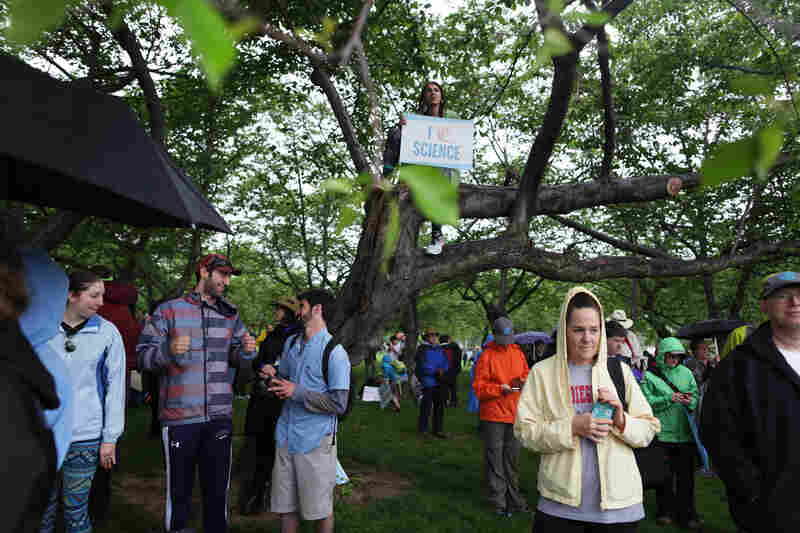 Demonstrators gather before the March for Science on the National Mall in Washington, D.C., on Saturday.