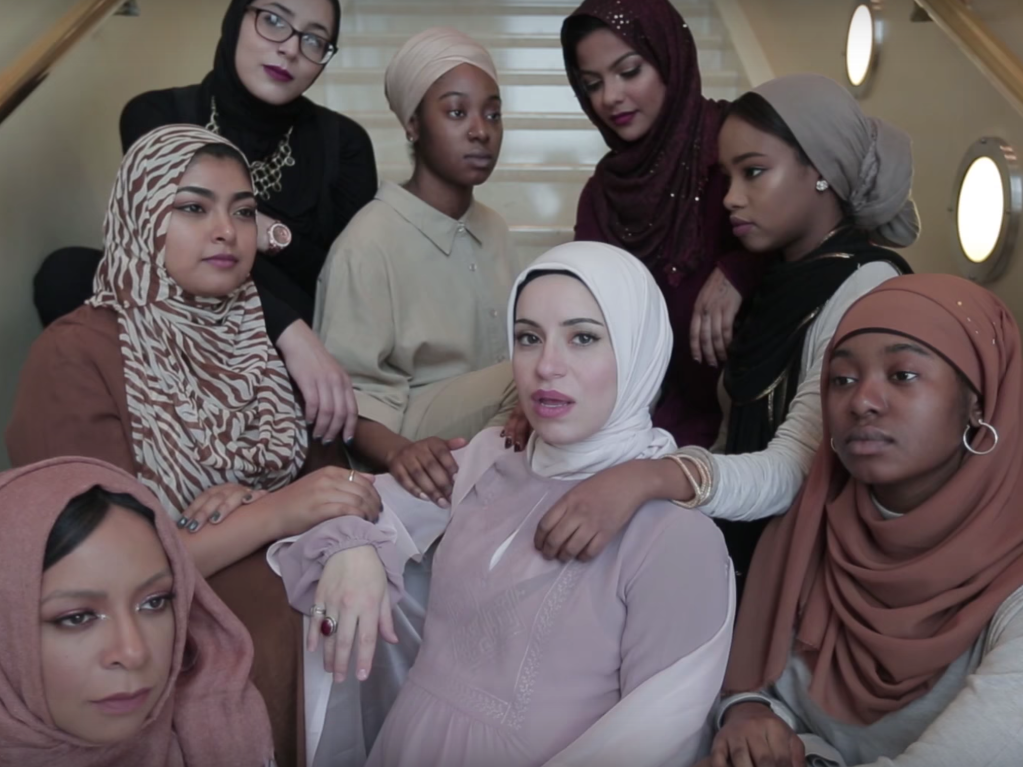 "Mona Haydar (center), a Syrian- American artist from Flint, Mich., released her first rap song, ""Hijab,"" along with an accompanying video."