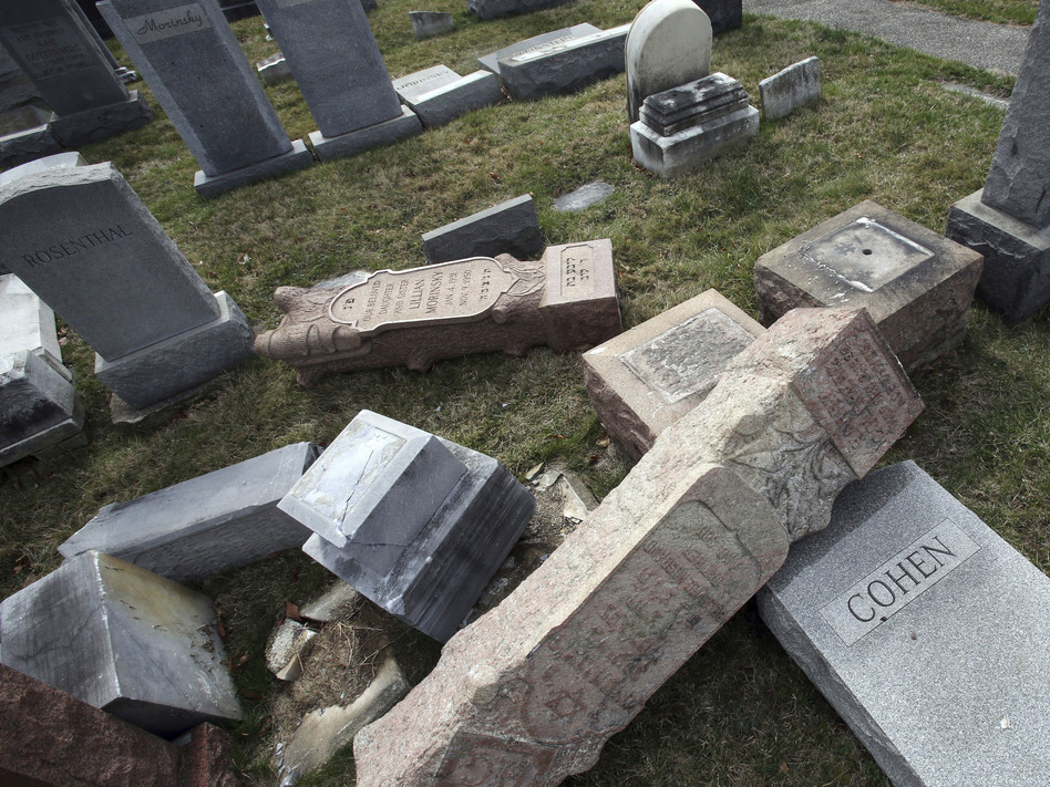 The Anti-Defamation League counts 541 incidents of anti-Semitism since the year began. That includes vandalism of Jewish burial grounds, including the Mount Carmel Cemetery in Philadelphia in February. (Jacqueline Larma/AP)