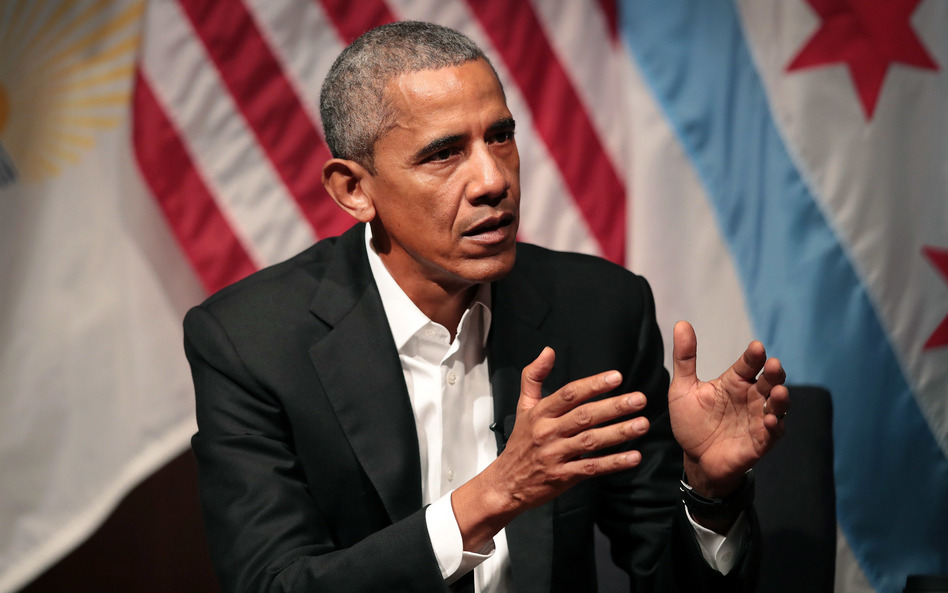 Former President Barack Obama hosts a conversation on civic engagement and community organizing on Monday at the University of Chicago. (Scott Olson/Getty Images)