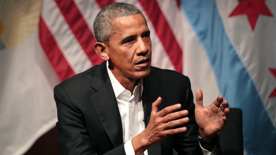 Former President Barack Obama hosts a conversation on civic engagement and community organizing on Monday at the University of Chicago.