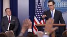 Treasury Secretary Steven Mnuchin talks to reporters during Monday's press briefing at the White House. Mnuchin announced sanctions against 271 employees of Syria's Scientific Studies and Research Center.