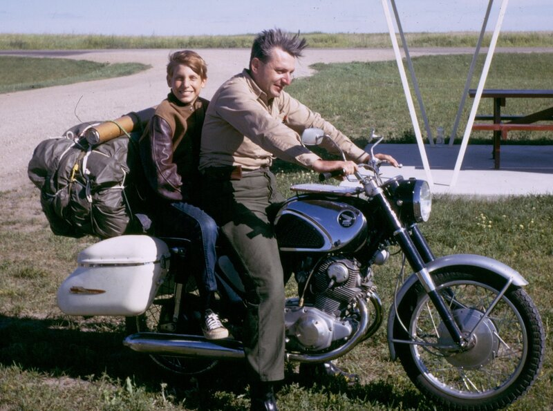 Author Robert Pirsig and his son Chris in 1968. Pirsig, who wrote Zen and the Art of Motorcycle Maintenance, died Monday at age 88. ~ Photo Credit: William Morrow/HarperCollins