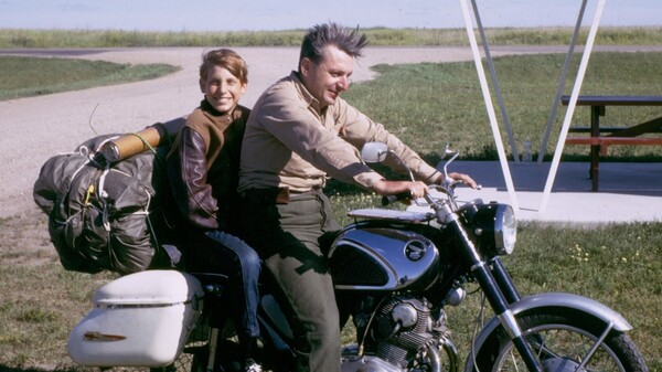 Author Robert Pirsig and his son Chris in 1968. Pirsig, who wrote Zen and the Art of Motorcycle Maintenance, died Monday at age 88.