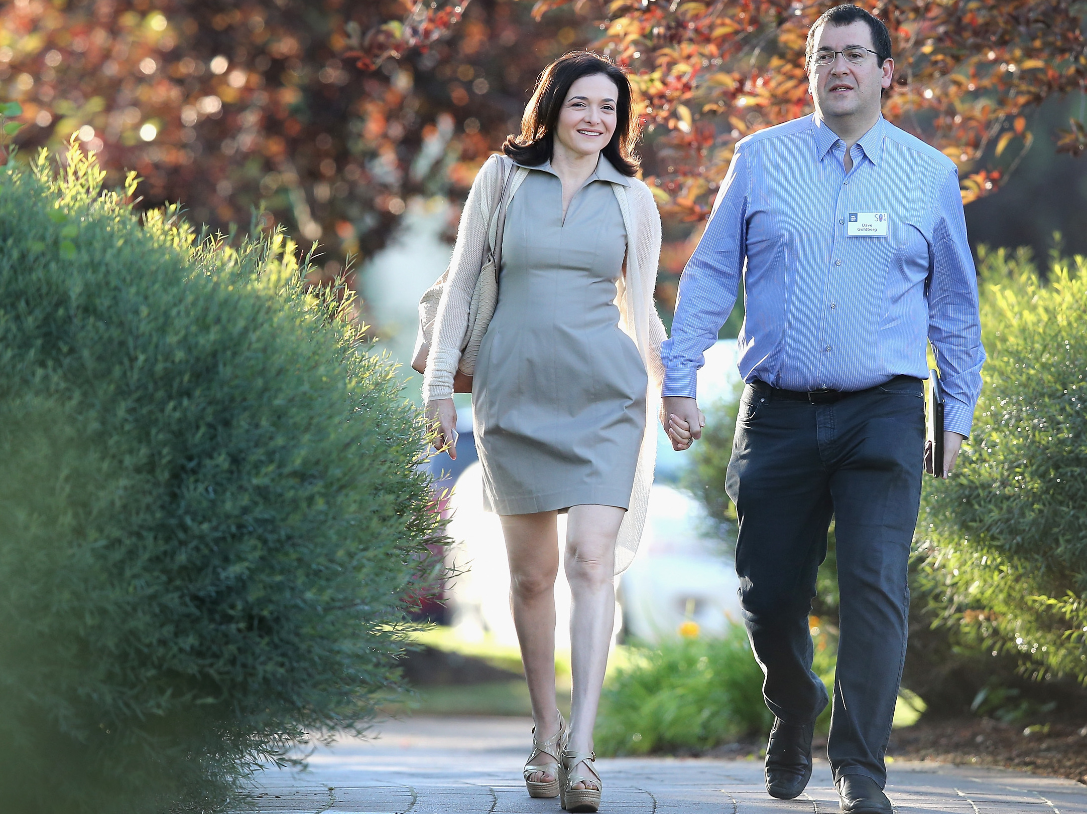 Sandberg and her husband Dave Goldberg, then-CEO of SurveyMonkey, attend a 2014 conference in Sun Valley, Idaho.     (Scott Olson/Getty Images)