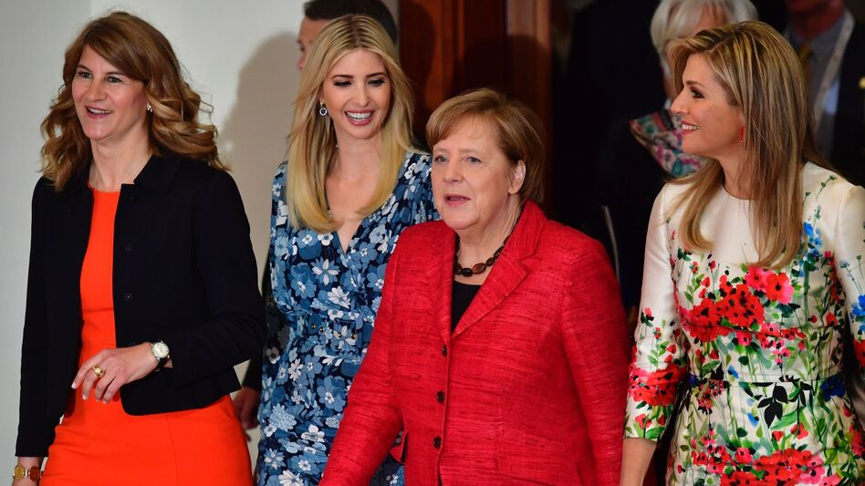First daughter and presidential adviser Ivanka Trump (second from left) arrives for a panel discussion with (from left) W20 co-Chairwoman Stephanie Bschorr, German Chancellor Angela Merkel and Queen Maxima of the Netherlands. (John MacDougall/AFP/Getty Images)