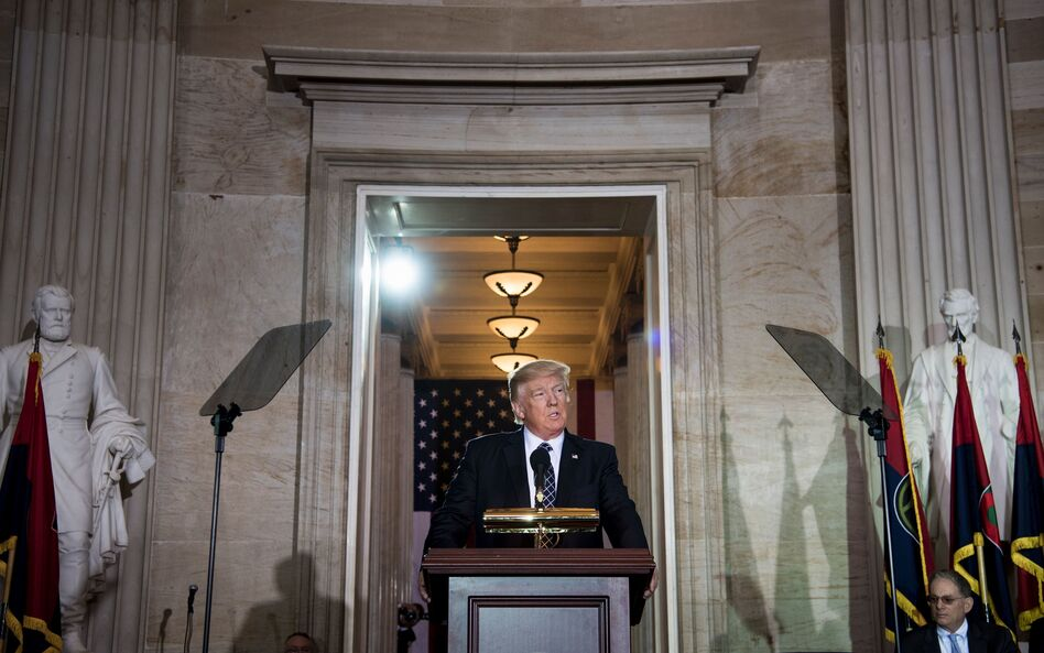 President Trump speaks during a Holocaust remembrance ceremony in the Rotunda of the U.S. Capitol on Tuesday. (Brendan Smialowski/AFP/Getty Images)