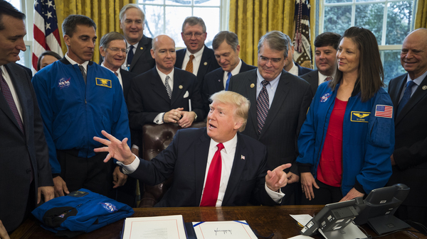 President Trump speaks after signing the NASA Transition Authorization Act in the Oval Office on March 21, one of 28 bills that Trump has signed into law.