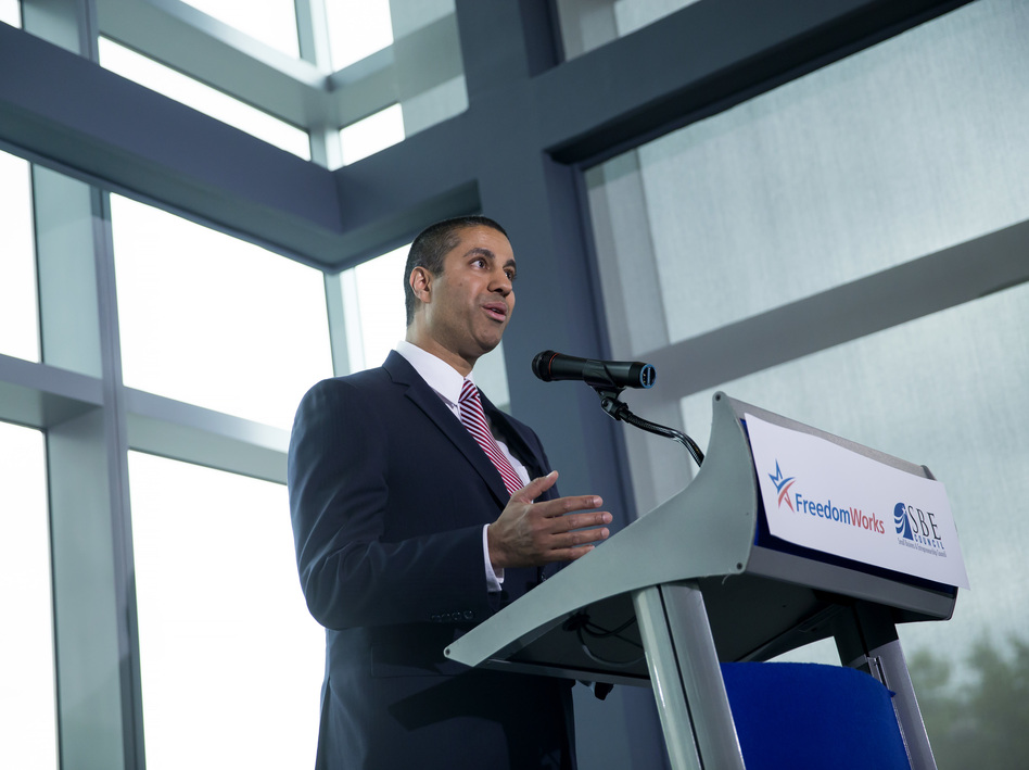 Federal Communications Commission Chairman Ajit Pai launched his net neutrality repeal campaign in a speech Wednesday in Washington, D.C. (Eric Thayer/Getty Images)