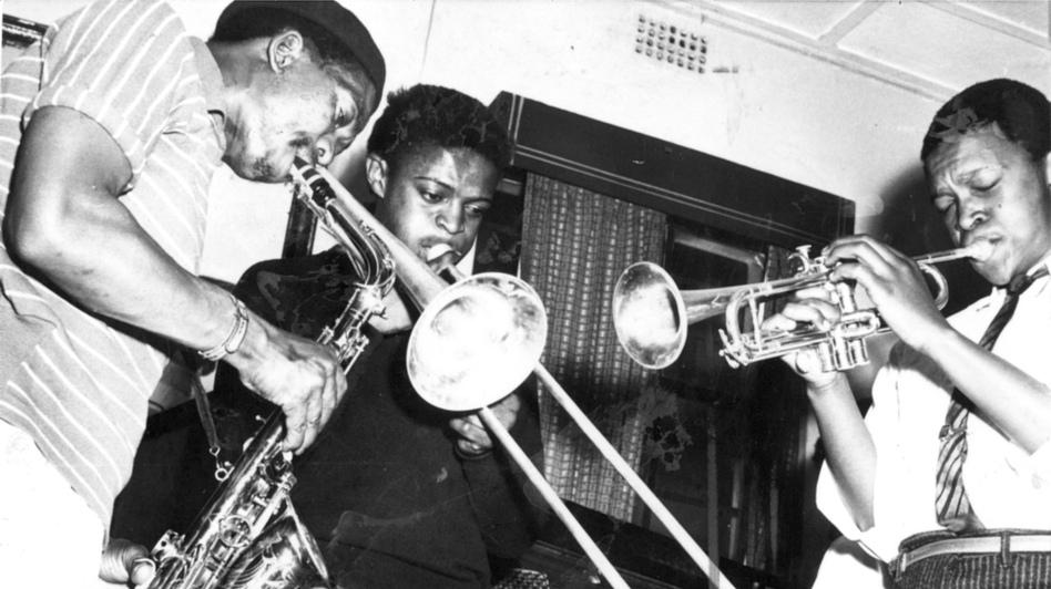 Jonas Gwangwa with Hugh Masekela and Kippie Moeketsi.